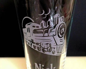 Engraved Train Pint Glass - Personalised - Handmade