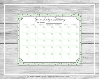 Mint and Silver Baby Shower Guess Baby's Birthday - Printable Baby Shower Guess Baby's Birthday Game - Mint and Silver Baby Shower - SP152