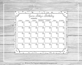 White and Silver Baby Shower Guess Baby's Birthday - Printable Baby Shower Guess Baby's Birthday Game - White Silver Baby Shower - SP154