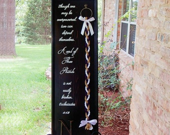 Unity Braids®, Cord Of Three Strands, Wedding Signs, Board Sign, Unity Braid Cross, Unity Rope, Rustic Wedding, Wood Signs, Gods Knot, Unity