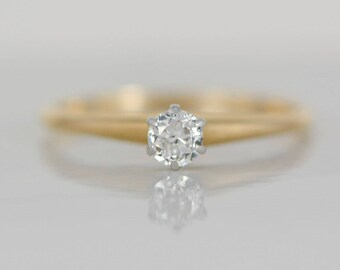 1900s Victorian Old European Cut .25ct. Diamond, Yellow Gold and Platinum Solitaire Engagement, Wedding, Promise or Stacking Ring MS146