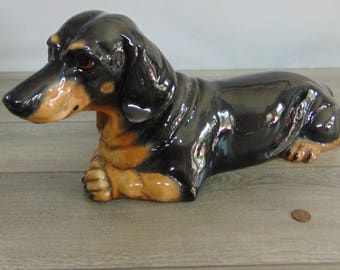 "Vintage Townsends Ceramics DACHSHUND DOG SCULPTURE 20"" Life Size Figure Black Tan Short Hair - Excellent Condition!"