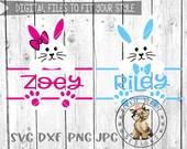 Bunny Bundle, Easter Split Monogram svg, dxg, png, jpg - Easter, Mono, Boy, Girl. Bow,  Cricut, Silhouette, Studio Cut File