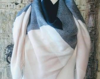 Pink/Gray Plaid Blanket Scarf