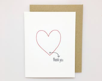 Letterpress Thank You Card: Thank You from the Bottom of My Heart // thank you card, heartfelt thanks, thank you cards, thank you note,
