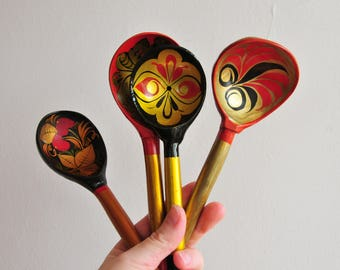 vintage Russian wooden spoons, hand painted spoons, Khokloma painting, Rushian folk art, Made in USSR, soviet vintage, rustic kitchen CAS102