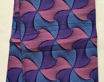 African Print Fabric/ Dutch Wax - Pink, Purple, Light Blue 'Spinderella 3.0', YARD or WHOLESALE