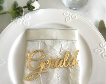 Laser cut names, Wedding Place Cards, Gold Mirror Plate Names, Acrylic Wedding Place Card, Wedding Decor, Place Setting, Event Decoration