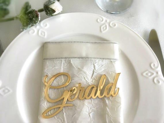 Laser cut names Wedding place cards Gold Mirror table names Acrylic wedding Table decor Event Decoration Bridal shower decor Name settings