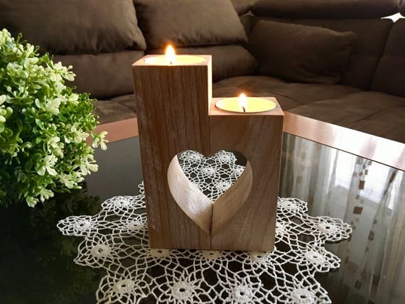 Valentine's Day Gift Ideas Set of Handmade doily crochet & Wooden heart candle holder Doilies table decorations Lace doily Tealight holders