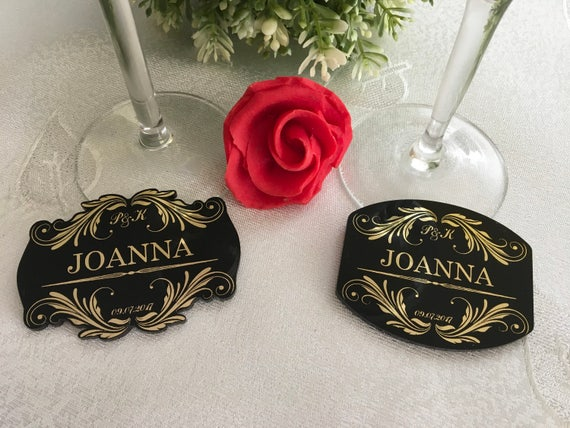 Black and Gold Foil Personalized Wedding Name Place Cards Escort Seating Acrylic Table setting Guest Names Engraved Save the Date Initials