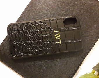 Personalised I Phone X Case Cover Croc Effect