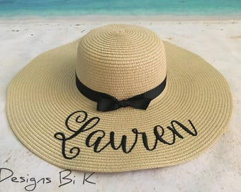 Straw hat, Beach hat, Personalized hat, Custom floppy beach hat, Bachelorette party,  Bridesmaid gift, Bridal party gift, Personalized gifts