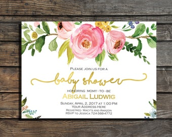 Baby shower invitation Floral  Baby shower invite Girl baby shower invitation gold pink flowers watercolor It's a Girl Shower Invite