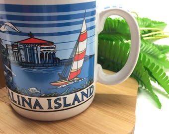 Vintage mug, old school, catalina islands, souvenir
