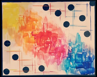 Painting acrylic abstract art - knife painting