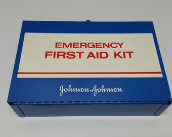 Vintage Johnson & Johnson Emergency First Aid Kit Metal Complete Full Metal Retro Blue Red White