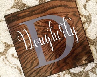 Personalized 12x12 Oak Family Name Sign--Great Wedding Gift--Bridal Shower Gift--Anniversary Gift--Housewarming Gift