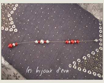 Red and gray pearls back jewelry