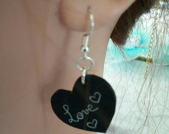 A pair of Black Heart Earrings