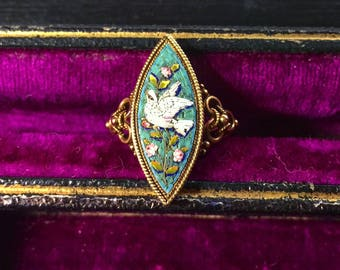 Victorian Micromosaic Dove Ring