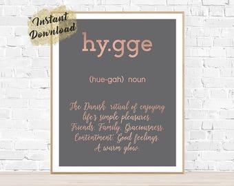 Hygge definition, hygge life, hygge sign, rose gold decor, hygge print, instant download art, hygge home decor, printable art