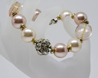 Beautiful pink tone beaded bracelet