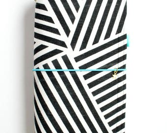 Midori Notebook Fabric Dori Gift for Teens Gifts for Writers Black and White Journal Cover Geometric Pattern Fauxdori Travelers Notebook KIM