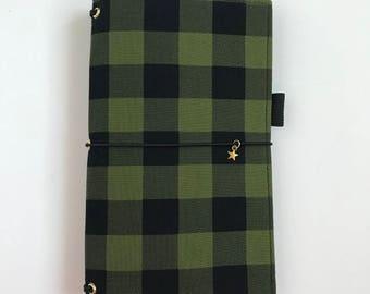 Buffalo Check Fauxdori Black Green Midori Traveler's Notebook Fabric Midori REGULAR Cover Fauxdori Standard Fabric Dori