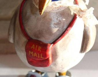 Post bird, Bird, Art doll, Handmade Doll, Paperclay Art Doll, Collection Doll, Sculpted Paperclay Art Doll, OOAK doll, Interior Art Doll