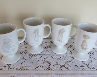 Set of Four Precious Moments Coffee Cups Pedestal 8 oz. 1986 (Seasonal)