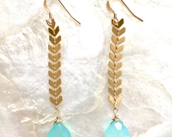 Sea Green Chevron earrings