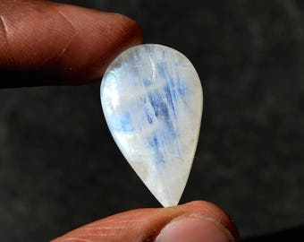 Rainbow Moonstone 24 Cts Natural Top Quality Blue Fire/Flash Gemstone Cabochon Pear Shape 29x17x7 MM R14624