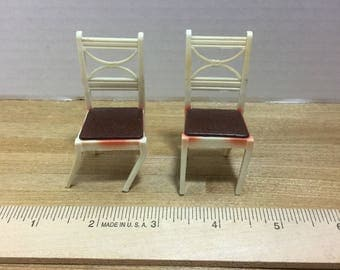 Dollhouse furniture Renwal vintage plastic side dining chairs