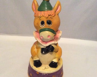 Vintage Kitschy Horse/Donkey Ceramic Coin Bank With Stopper