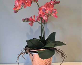 Artificial orchid plant flower arrangement; Coral pink; in a brass & copper bucket vase / planter; Mothers Day gift