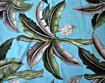 Tropical Palm Leaf Fabric by Printex*LC 80183*Aqua Blue Background*Green and Silver Leaves*Large Scale Print*100% Cotton*Quilting*Sewing