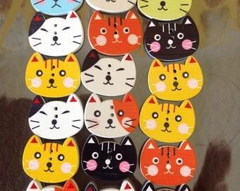 Wooden cat face buttons approx 25mm