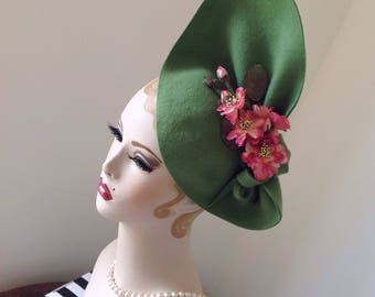 Vintage style, 1940's inspired kiwi  Green Sculptured Felt Hat with pink vintage roses  can be worn 2 ways