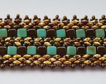 Turquoise and Bronze Tile and Super Duo Beaded Bracelet – Handmade – Beadwoven Bracelet - Beaded Bracelets for Women