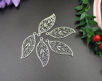 10PCS 28x45mm Silver Leaf Charms,2 Sided-p1309