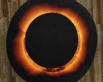 """Total Solar Eclipse (Ring of Fire) 60"""" Round Microfiber Beach Towel"""