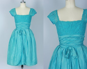Vintage 1950s Dress | Caribbean Sea Blue Silk Party Dress with Lace Bodice | Extra Small
