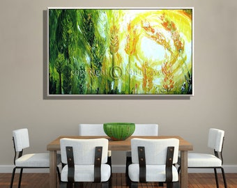 Oil Painting on Canvas, Canvas Wall Art, Painting Landscape, Abstract Wall Art, Abstract Landscape, Green and Yellow Canvas Painting