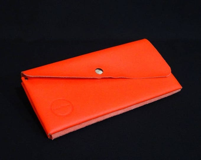 James Flat Purse - Dark Orange - Kangaroo leather purse with RFID Credit Card Blocking - Handmade in Australia -James Watson