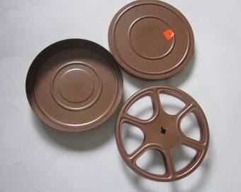 Vintage 16mm Film Reel & Case, Copper Vintage Film Reel w/Case, Small Vintage Metal Film Reel and Case