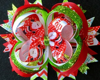 Santa & Snowman Stacked Boutique Christmas Bow