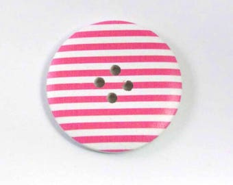 Button pink and white striped wood 4 cm