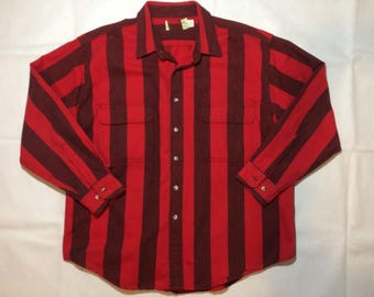 Vintage guess style long sleeve button up mens xxl 2xl 90s stripe red black