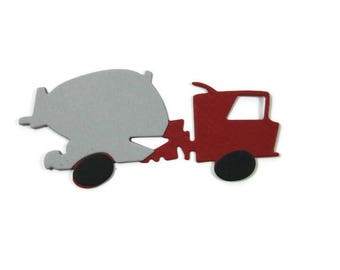 Cement Truck Paper Die Cuts set of 25